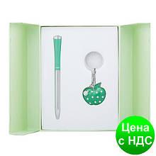"""Набір подарунковий """"Apple"""": ручка кулькова + брелок, зелений LS.122024-04"""