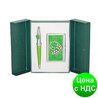 """Набор подарочный """"Crystal Heart"""": ручка шариковая + визитница, зеленый LS.122008-04"""