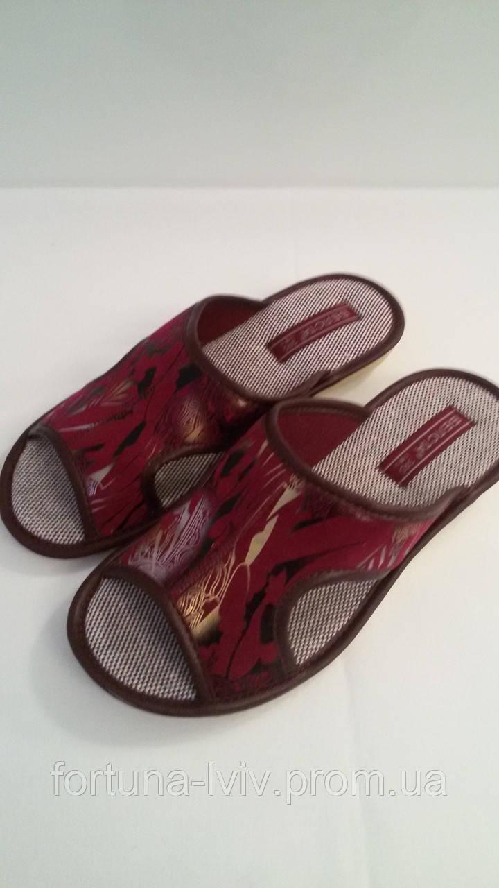 Тапочки женские  Белста с открытым носком вишневые (37-40 размеры)