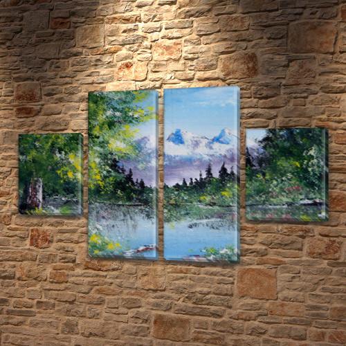 Картина триптих на холсте Горная вершина на Холсте син., 50x80 см, (25x18-2/50х18-2)