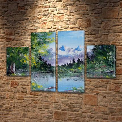 Картина триптих на холсте Горная вершина на Холсте син., 50x80 см, (25x18-2/50х18-2), фото 2