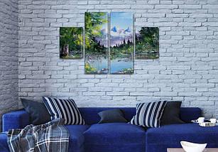 Картина триптих на холсте Горная вершина на Холсте син., 50x80 см, (25x18-2/50х18-2), фото 3