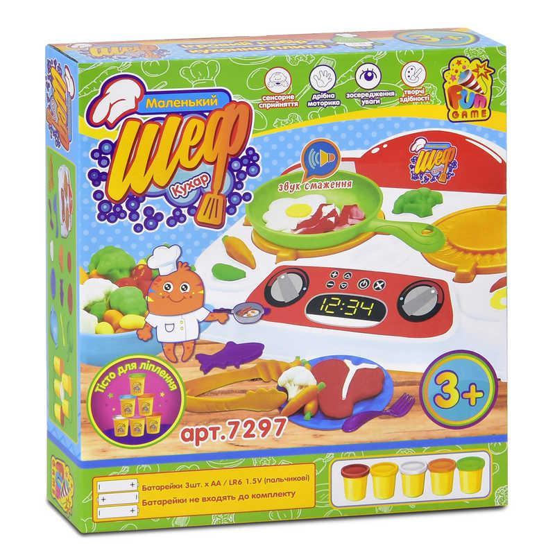 """Тесто для лепки """"Маленький Шеф кухар"""" 7297 (12) """"FUN GAME"""", звук, в коробке"""