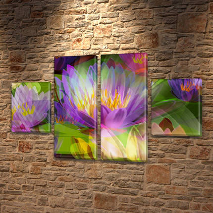 Модульные картины в спальню купить на Холсте син., 50x80 см, (25x18-2/50х18-2), фото 2