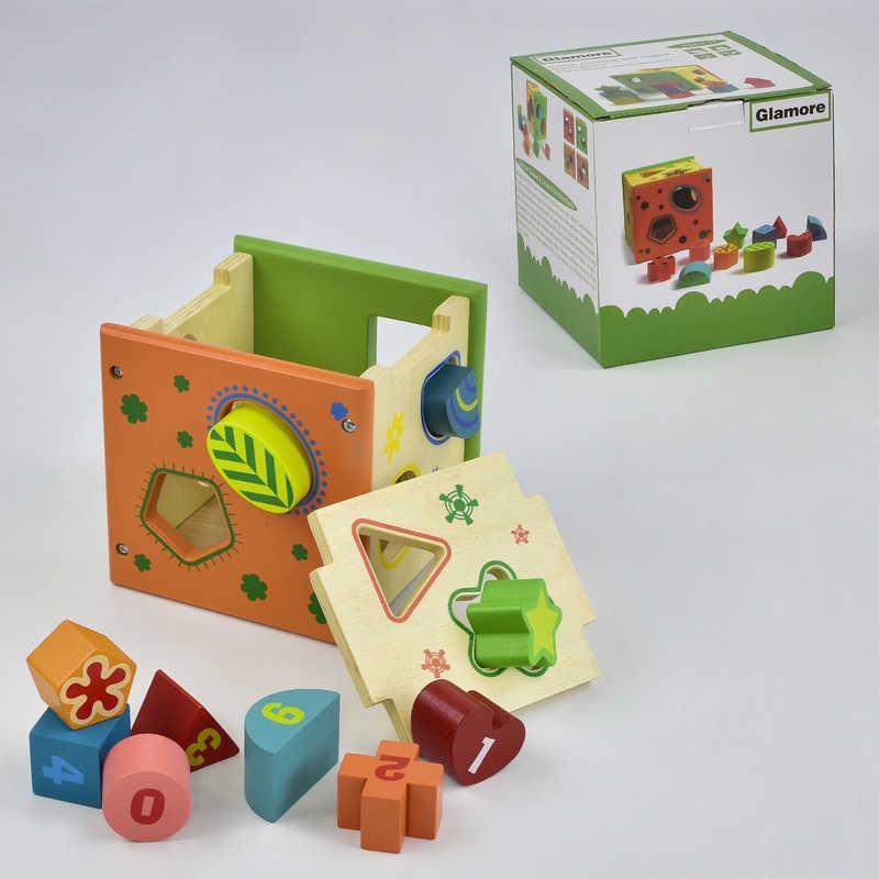 Деревянная игра Куб-сортер С 29380 (18) в коробке
