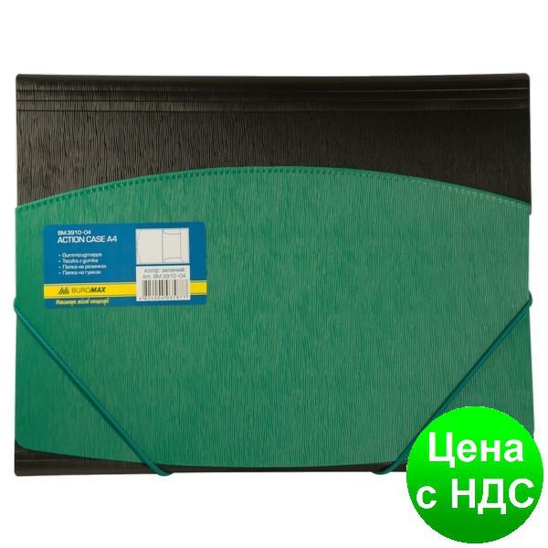 Папка пласт. А4 на резинках, двухцветная, зелена BM.3910-04