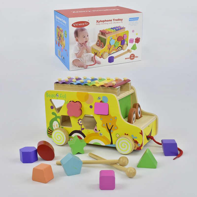 Деревянная машинка Ксилофон-сортер С 29689 (24) в коробке
