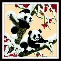 """Вышивка крестиком """"Снежные панды"""" 65*65  см."""