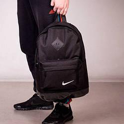 Стильный городской спортивный рюкзак в стиле NIKE, Найк. Черный с черным. Ромбик