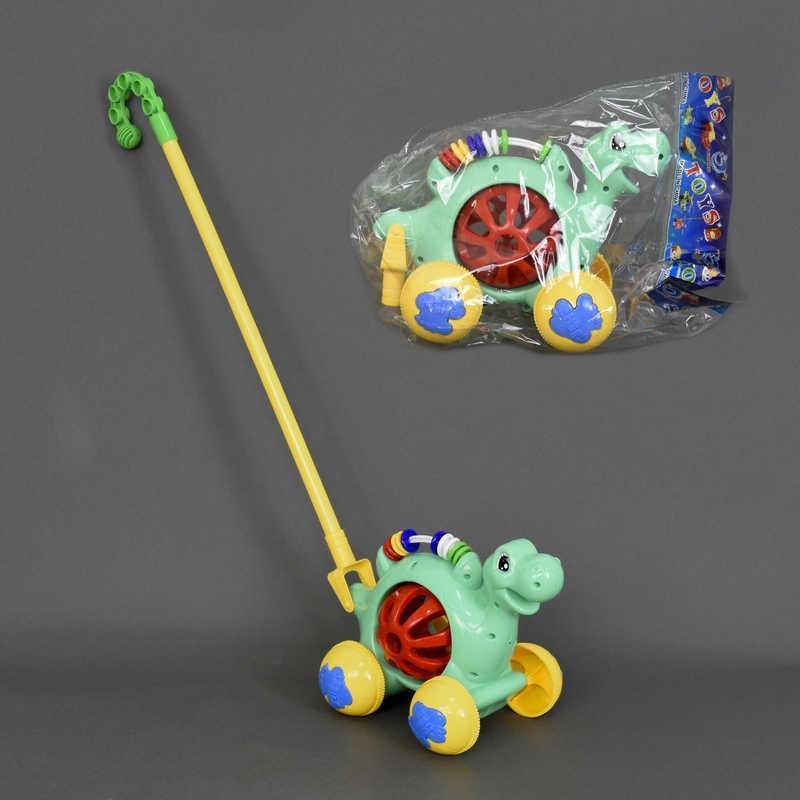 """Каталка 0333 (72) """"Динозаврик"""" на палочке, с погремушкой, в кульке"""