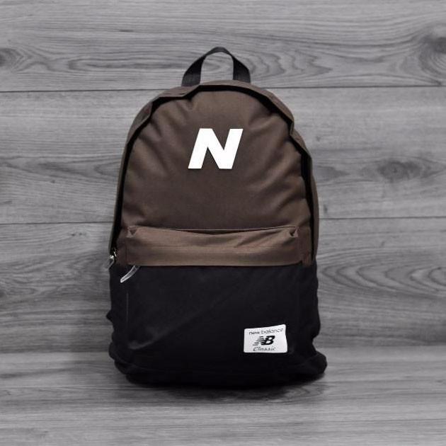 Трендовый рюкзак в стиле New Balance, Нью Бэланс. NB. Коричневый с черным