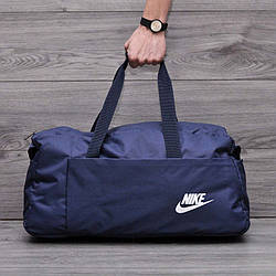 Спортивная, дорожная сумка найк, в стиле nike с плечевым ремнем. Синяя
