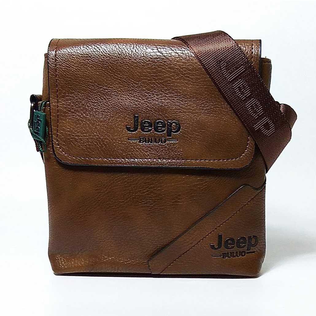 Мужская сумка через плечо в стиле Jeep. Коричневая. 21см х 19см / Кожа PU. 556 brown