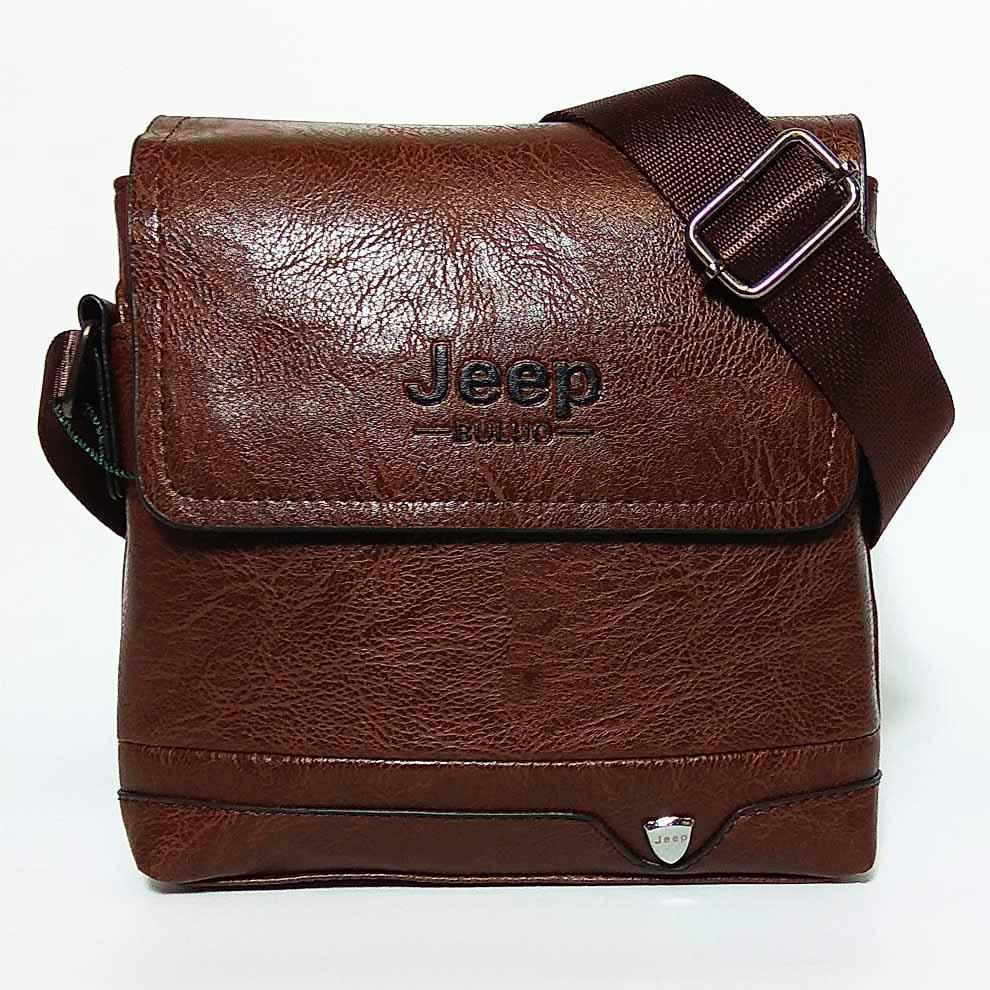 Мужская сумка через плечо в стиле Jeep. Коричневая. 21см х 19см / Кожа PU. 552 brown
