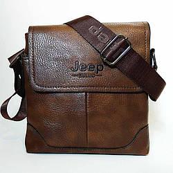 Мужская сумка через плечо в стиле Jeep. Коричневая. 21см х 19см / Кожа PU. 555 brown
