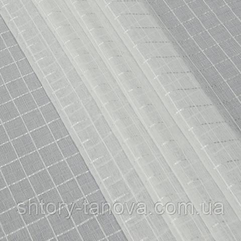 Тюль кисея, клетка, белый