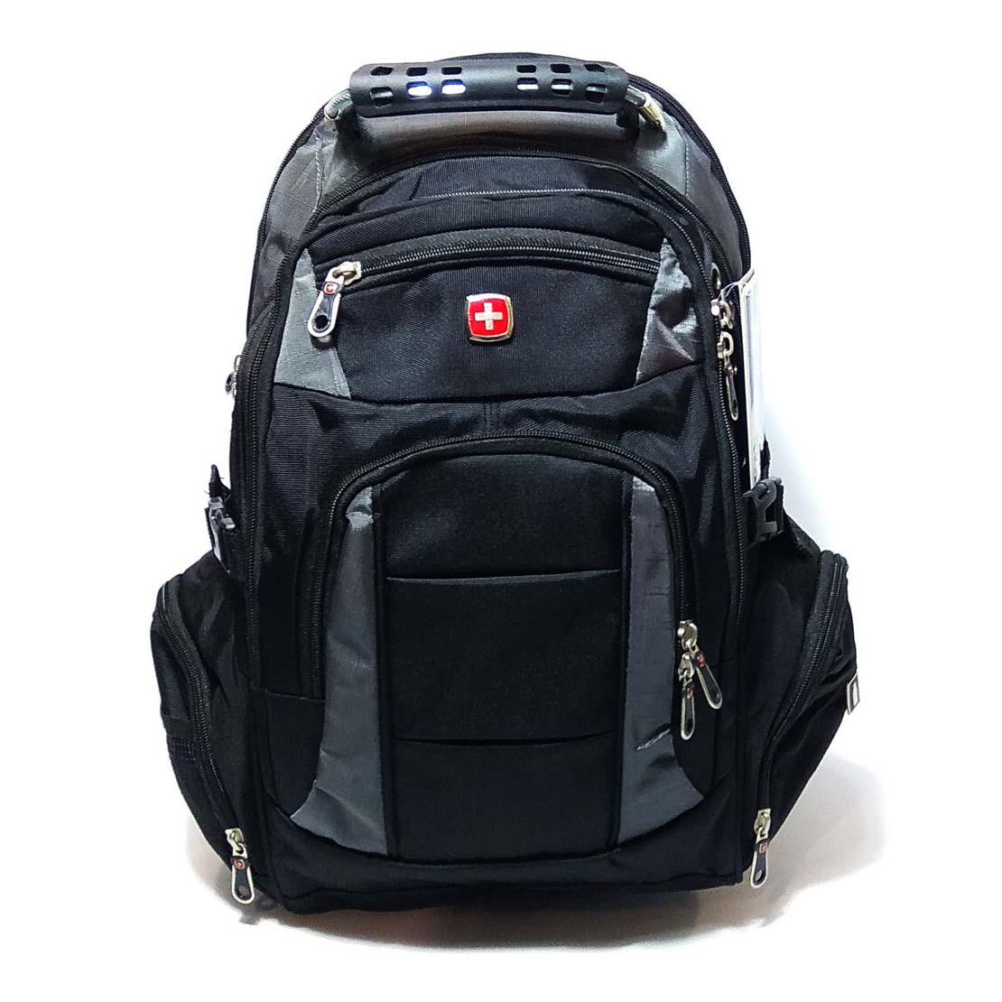 Вместительный рюкзак в стиле SwissGear, свисгир. Черный с серым. 35L / 7697 grey