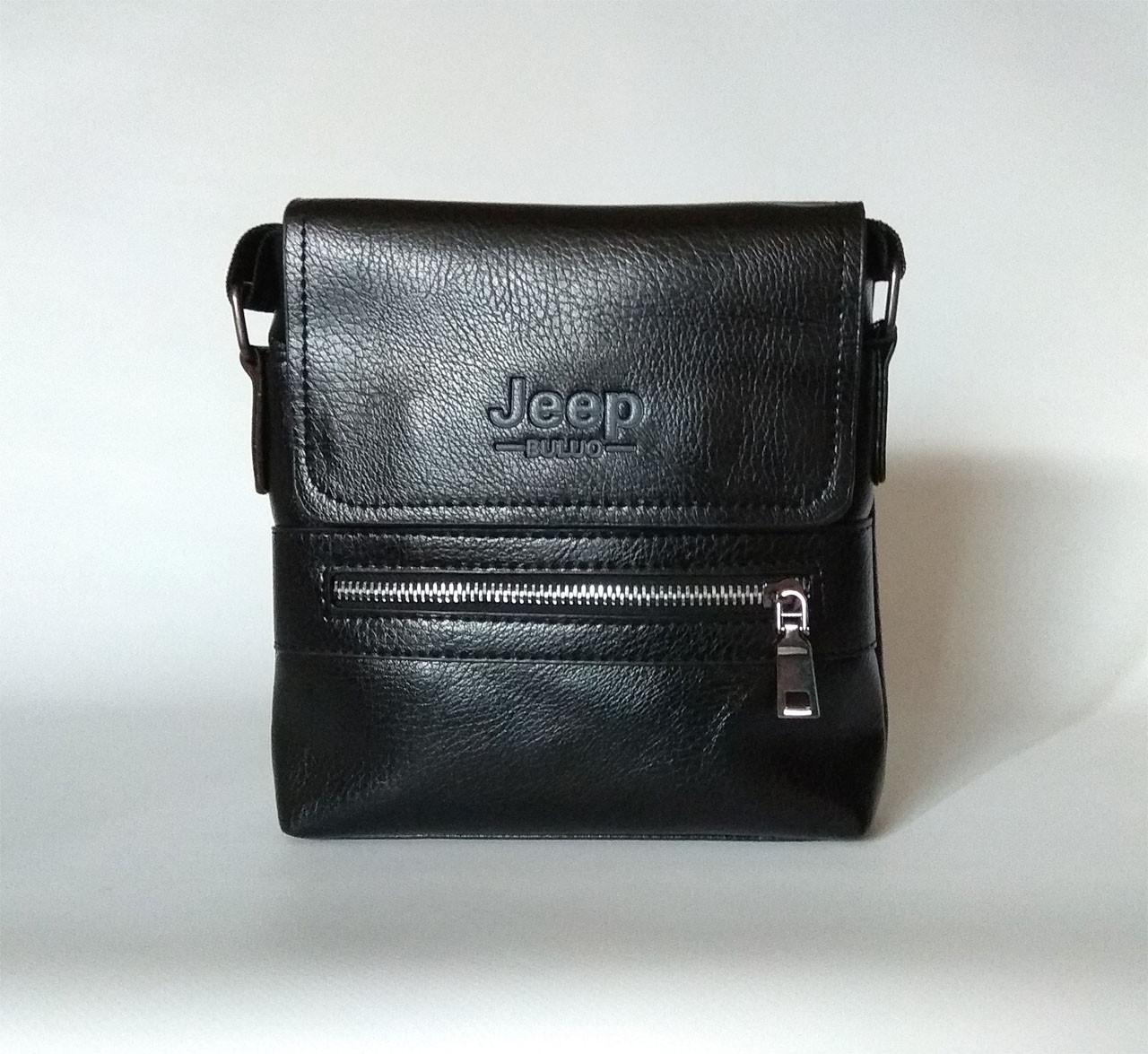 Мужская сумка через плечо в стиле Jeep. Черная. 21см х 19см / Кожа PU. 558 black