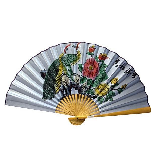 """Веер бамбук с шелком """"Павлины на голубом фоне"""" (50 см в развороте 85х50 см)"""