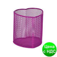 """Подставка для ручек """"серце"""" 90х90х100мм, металлическая, розовый ZB.3102-10"""