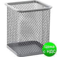 Подставка для ручек квадратная 80х80х95мм, металлическая,  серебро BM.6201-24