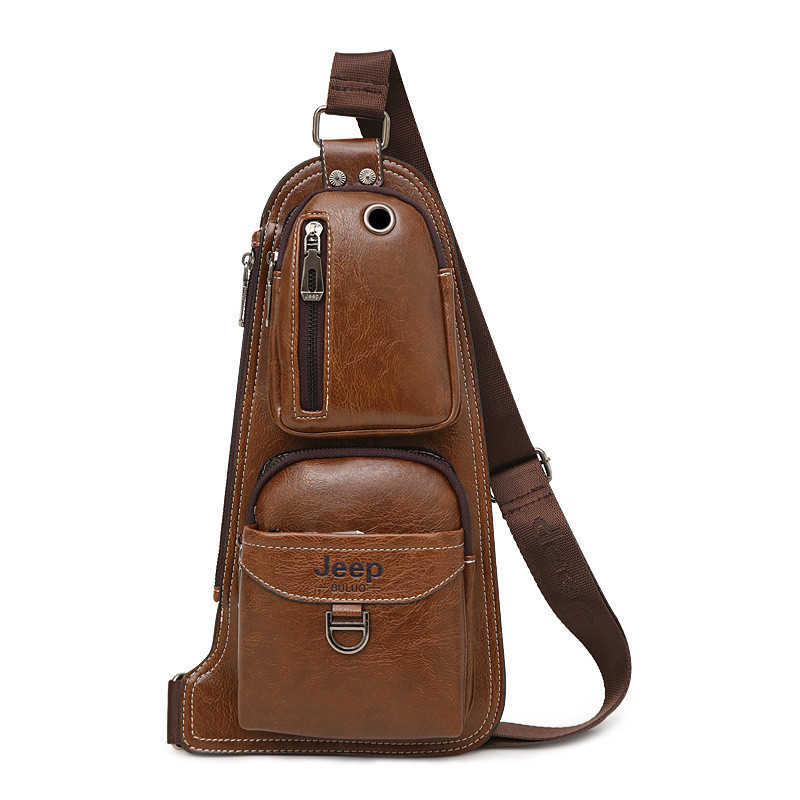 Сумка-рюкзак на одно плечо, кобура, слинг в стиле Jeep 1941. Коричневая / J1941 brown