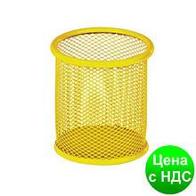 Подставка для ручек круглая 90х90х100мм, металлическая, желтый ZB.3100-08