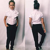 1cf8636fd86 Блузка школьная с воланами короткий рукав для девочки в школу