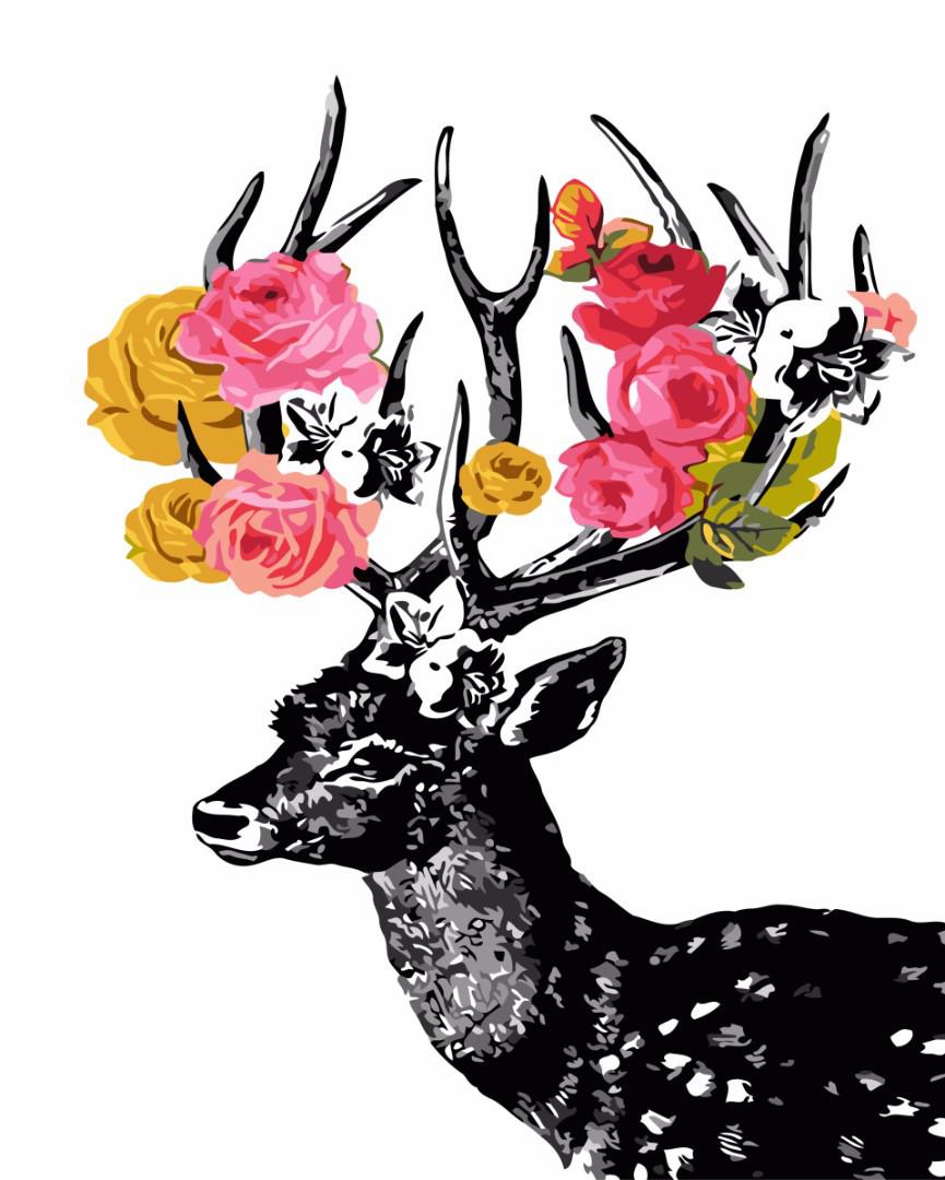 Картина по номерам Олень в цветах, 40x50 см., Brushme
