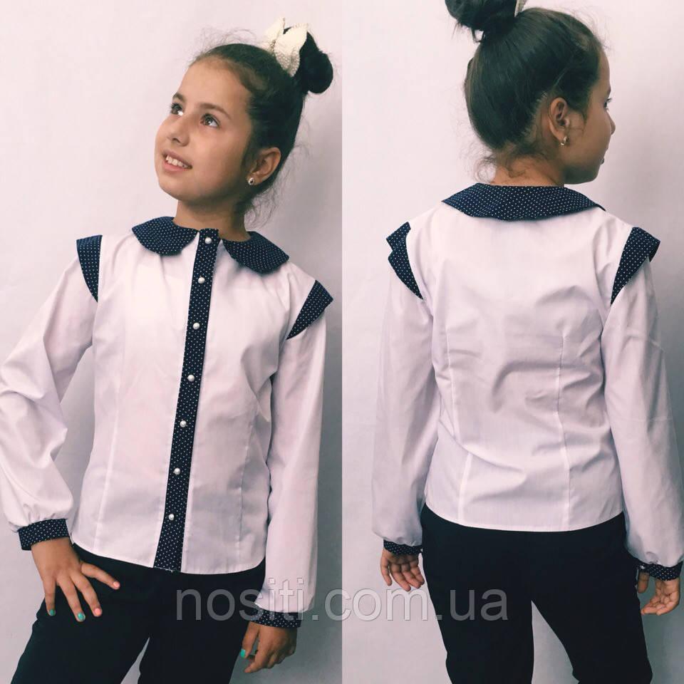 Блузка для девочки в школу белая+горох