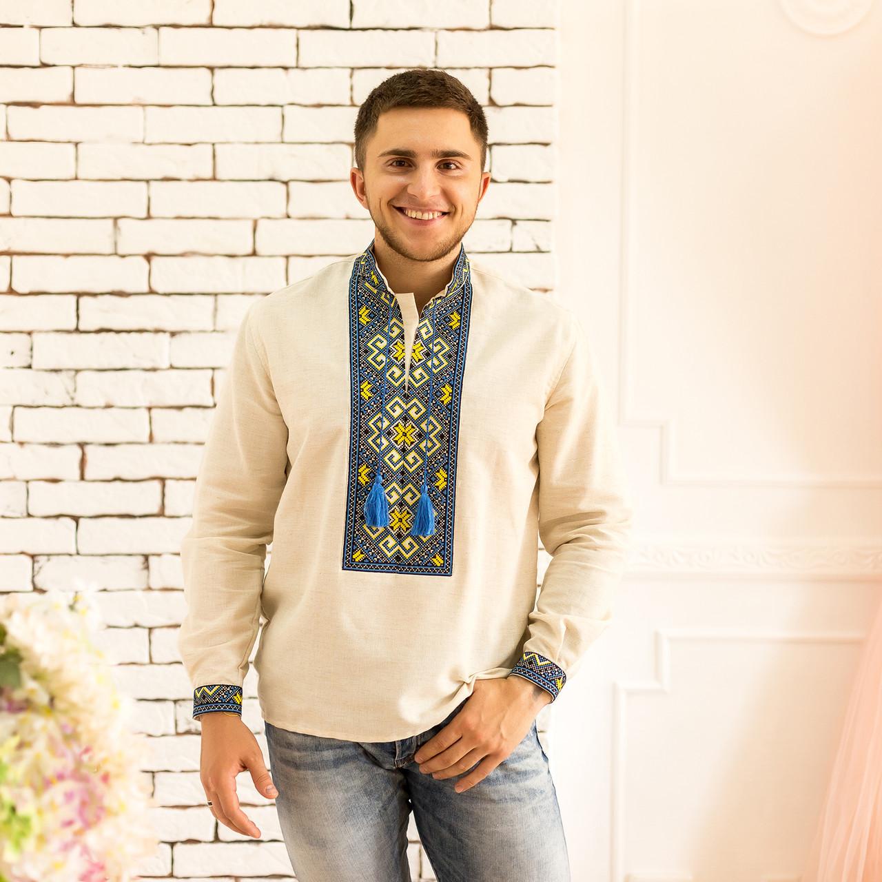 Мужская вышиванка с синим орнаментом