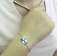 Браслет Сова тонкая серебро/бижутерия/цвет серебро
