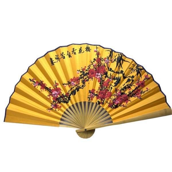 """Веер бамбук с шелком """"Сакура на желтом фоне"""" (50 см в развороте 85х50 см)"""