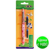 Ручка перьевая (закрытое перо) + 2 Капсулы, розовый корпус с рисунками, картонный блистер ZB.2250