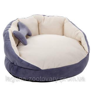 """Лежак """"Буше 2 """",  63х63х30см для собак и кошек/ серый-молоко"""