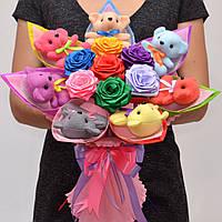 Букет из игрушек №68 (Подарок ребёнку, девушке, маме, подруге) Оригинальный подарок на день рождения