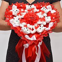 Букет в форме сердца / на 14 февраля / на день влюблённых / святого валентина / подарок девушке