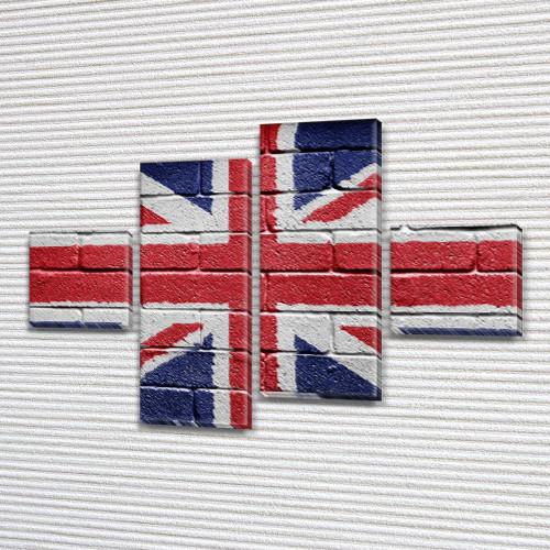 Модульная картина Британский флаг  на Холсте син., 50x80 см, (18x18-2/45х18-2)