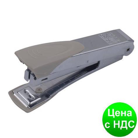 Степлер металлический (пласт.накладка) до 12листов, (Скобы №10), серый BM.4153-09, фото 2