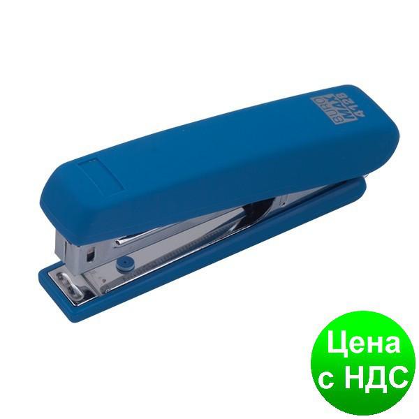 Степлер пластиковый RUBBER TOUCH до 12листов(Скобы №10), синий BM.4128-02
