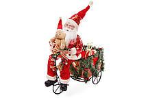 Новогодняя фигура Санта на велосипеде 48см