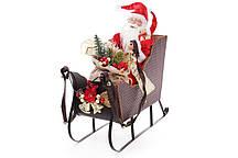 Новогодняя фигура Санта в санях 48см