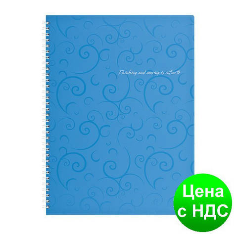 Тетрадь на пруж. Barocco А4, 80 листов, кл., голубой, пласт.обложка BM.2446-614, фото 2