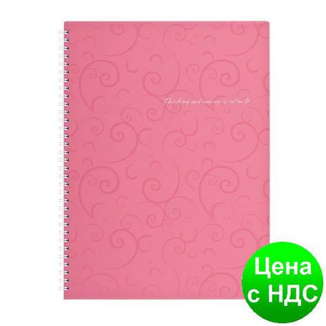 Тетрадь на пруж. Barocco А4, 80 листов, кл., розовый, пласт.обложка BM.2446-610, фото 2