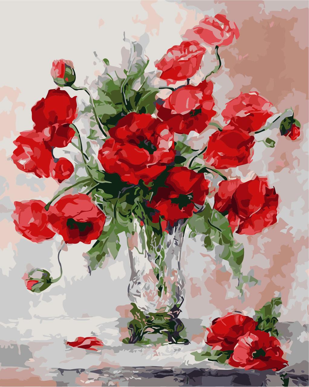 Раскрас по номерам Маковый букет в стеклянной вазе ArtStory AS0247 40 х 50 см