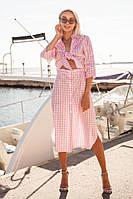 Женское яркое летнее платье в клеточку, фото 1