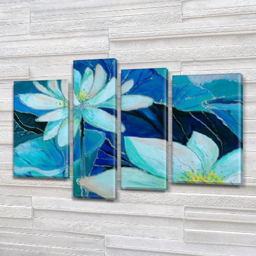 Картина модульная Белый Лотос, на Холсте син., 65x85 см, (40x20-2/65х18/50x18)