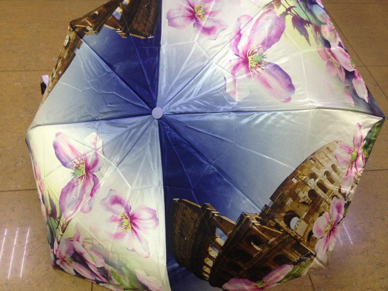 Атласный женский зонт город в цветах на 8 спиц полуавтомат