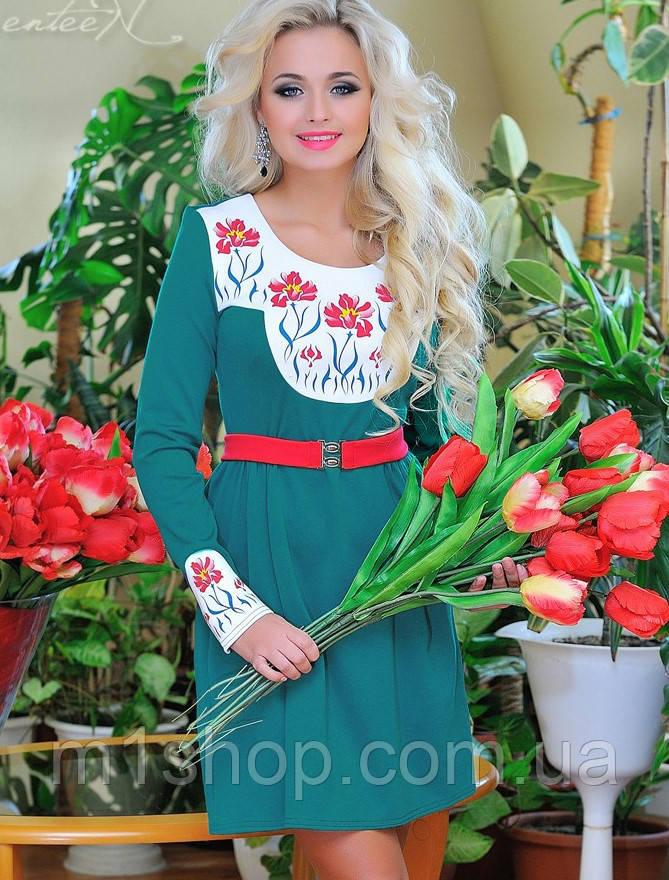 Трикотажное расклешенное женское платье (0682-0683 svt)