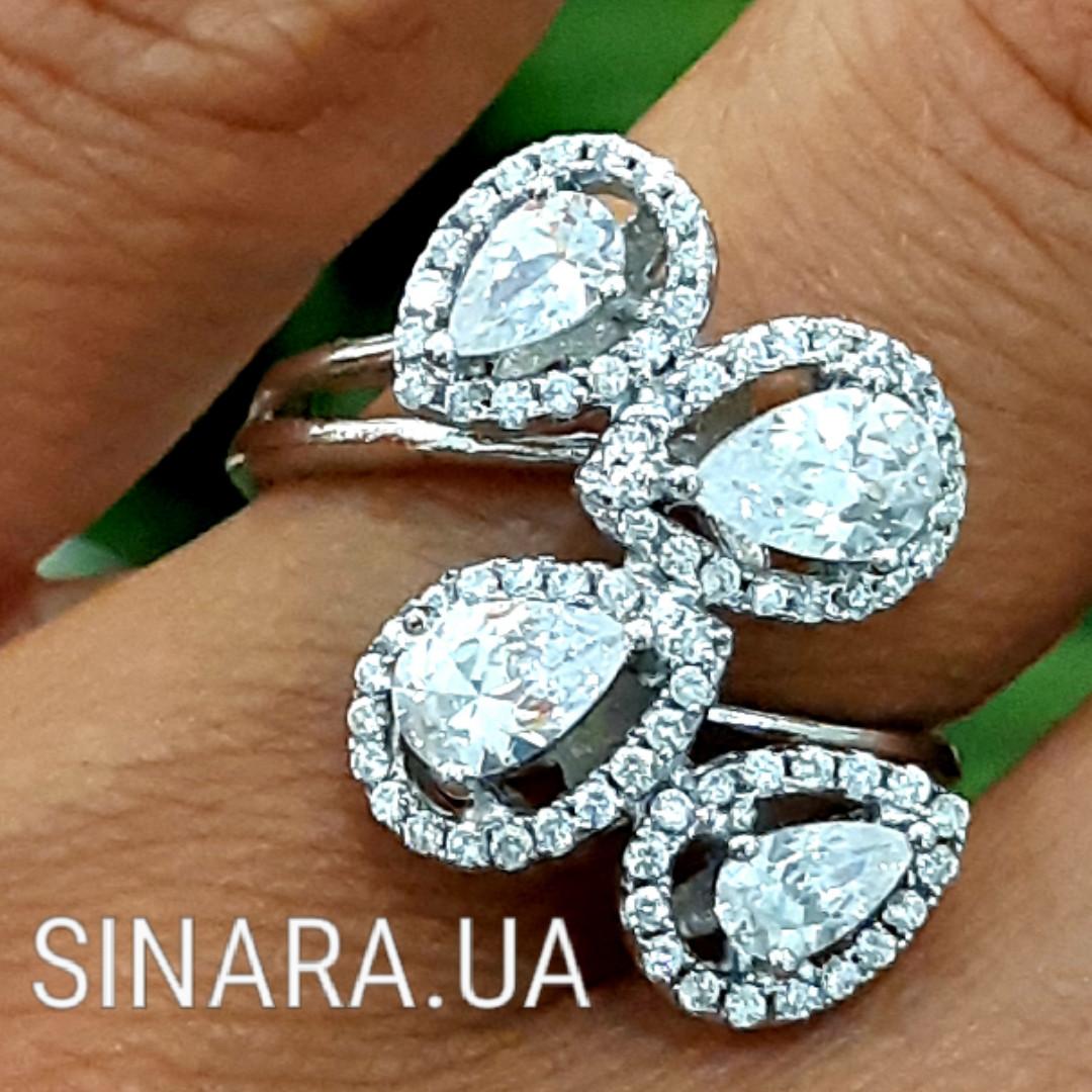 Серебряное кольцо Капли дождя